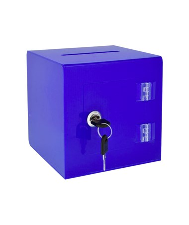 "AdirOffice 10""W x 10""D x 10""H Acrylic Ballot and Donation Box with Easy Open Rear Door Blue 637-02-3-BLU"