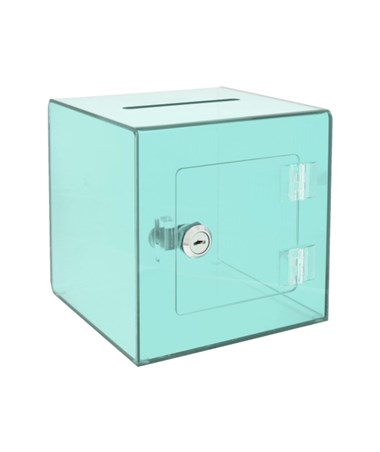 "AdirOffice 10""W x 10""D x 10""H Acrylic Ballot and Donation Box with Easy Open Rear Door Crystal Green 637-02-3-CRG"