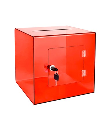 "AdirOffice 10""W x 10""D x 10""H Acrylic Ballot and Donation Box with Easy Open Rear Door Crystal Red 637-02-3-CRR"