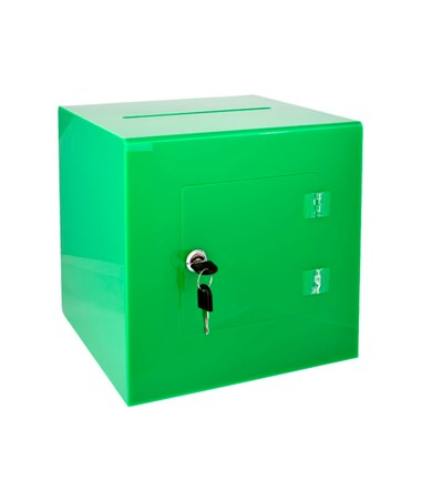 "AdirOffice 10""W x 10""D x 10""H Acrylic Ballot and Donation Box with Easy Open Rear Door Green 637-02-3-GRN"