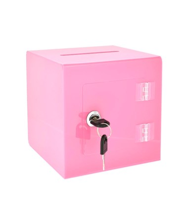 "AdirOffice 10""W x 10""D x 10""H Acrylic Ballot and Donation Box with Easy Open Rear Door Pink 637-02-3-PNK"