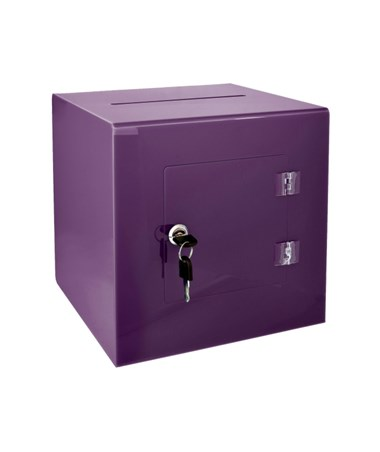 "AdirOffice 10""W x 10""D x 10""H Acrylic Ballot and Donation Box with Easy Open Rear Door Purple 637-02-3-PUR"