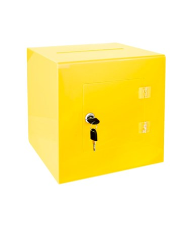 "AdirOffice 10""W x 10""D x 10""H Acrylic Ballot and Donation Box with Easy Open Rear Door Yellow 637-02-3-YLW"