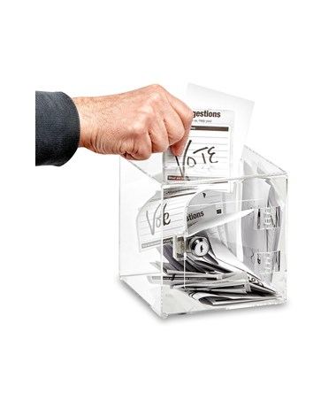 AdirOffice Clear Acrylic Ballot and Donation Box with Easy Open Rear Door