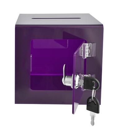 "AdirOffice 6"" W x 6"" D x 6"" H Acrylic Ballot and Donation Box with Easy Open Rear Door, Purple"