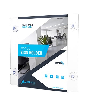 "AdirOffice Acrylic Window Sign Holder with Suction Cups 8.5""W x 11""H"