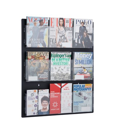 Adir Office Hanging Magazine Rack with Adjustable Pockets 29 x 35 inches, Black ADI640-2935-BLK