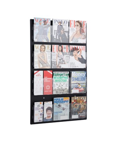 Adir Office Hanging Magazine Rack with Adjustable Pockets 29 x 48 inches, Black ADI640-2948-BLK