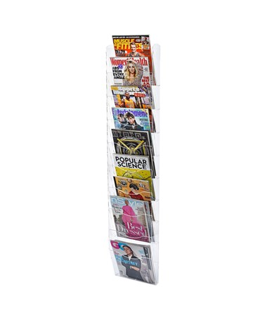 "AdirOffice 51""H x 10""W Hanging Magazine Rack with Adjustable Sliding Pockets - Clear 640-5110-CLR"