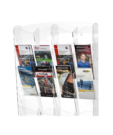 "AdirOffice 51""H x 20""W Hanging Magazine Rack with Adjustable Sliding Pockets - Clear 640-5120-CLR"