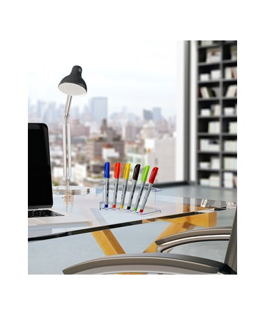 AdirOffice 6-Pen Vertical Clear Acrylic Premium Pen Display Stand - Pack of 2