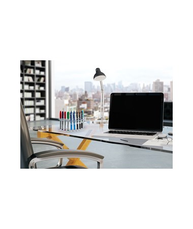 AdirOffice 12-Pen Moon-Shaped Clear Acrylic Premium Pen Display Stand - Pack of 2