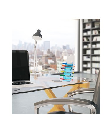 AdirOffice 6-Pen Horizontal Crystal Blue Acrylic Premium Pen Display Stand - Pack of 2