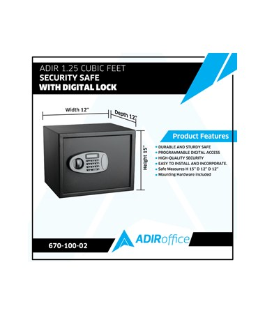 Adir 1.25 Cubic Feet Security Safe with Digital Lock 670-100-02
