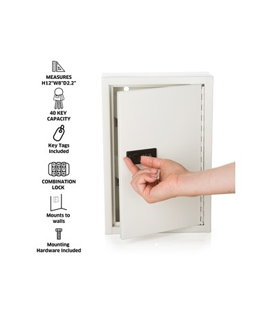 AdirOffice Key Cabinet with Combination Lock, 40 Hooks White