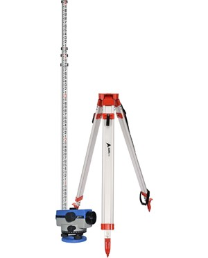 AdirPro 32X Automatic Level with Universal Contractor's Tripod & 14' Aluminum Grade Rod (feet/8ths)