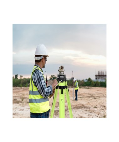 AdirPro Aluminum Universal Contractor's Tripod with Quick Clamp - HiViz Green ADI740-02-HVG - in use