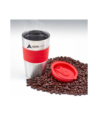 AdirChef 15 Oz. All Stainless Steel Travel Mug, Red ADI800-01-RED-MUG