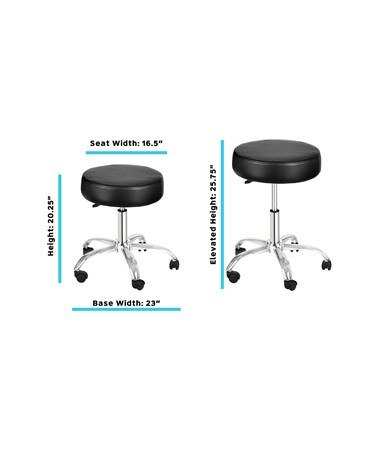 AdirMed Lux Height-Adjustable Stool Black 910-01-BLK