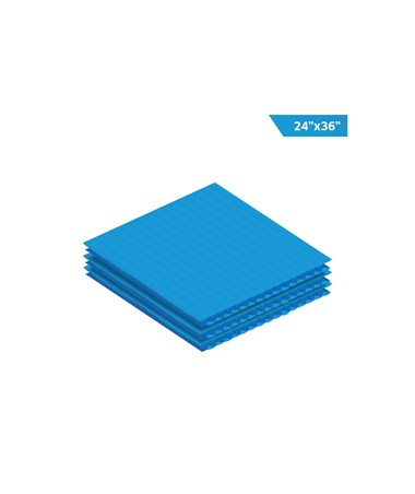 "AdirOffice 36""W x 24""H Corrugated Plastic Sheet, Blue"