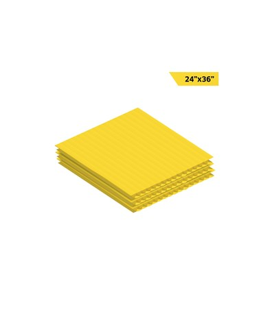 "AdirOffice 36""W x 24""H Corrugated Plastic Sheet, Yellow"