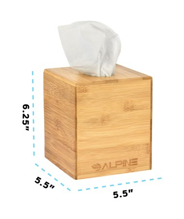 "Alpine Wooden Tissue Box Holder with Natural Wood Finish, 6.25"" H x 5.5"" W x 5.5"" D ALP405-BMB"