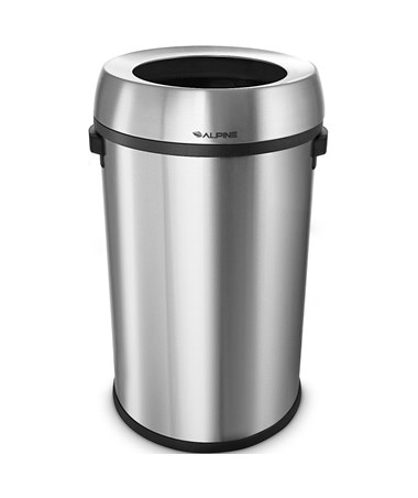 Alpine 17-Gallon Stainless Steel Open-Top Indoor Trash Receptacle ALP470-65L
