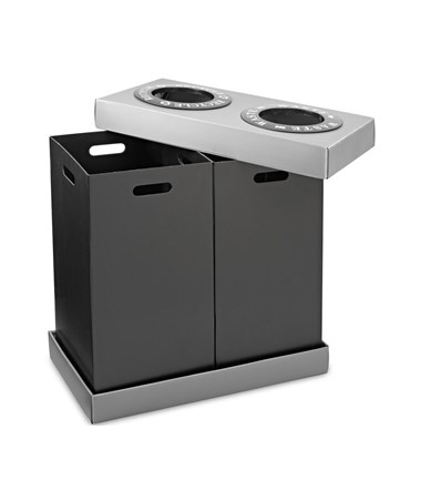 Alpine 28-Gallon Recycling Indoor Waste Bin, 2 Bins ALP471-02-BLK