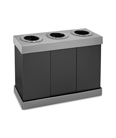 Alpine 28-Gallon Recycling Indoor Waste Bin, 3 Bins ALP471-03-BLK