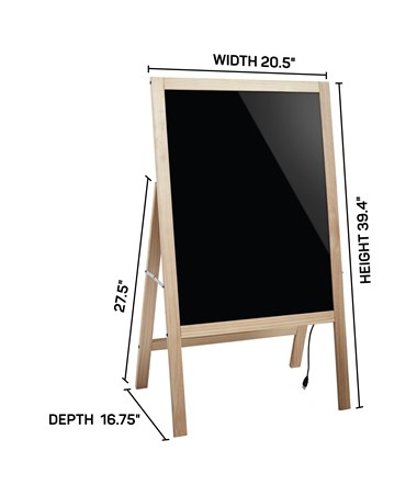 "Alpine LED Illuminated Wooden Message Writing Board on A-Stand, 22"" H x 40"" W ALP491-02"