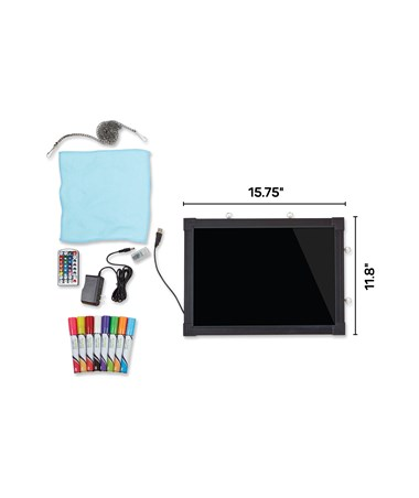"Alpine LED Illuminated Hanging Message Writing Board, 12"" W x 16"" H ALP495-01"