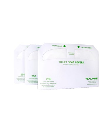 Alpine Half-Fold Flushable Toilet Seat Covers 3-Pack, 250 Sheets ALPALPP400