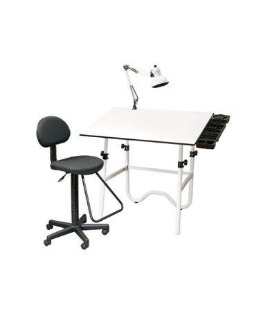 Alvin CC Series Creative Center White Top White Base Onyx Drafting Table, With Drafting Chair & Lamp CC2001E