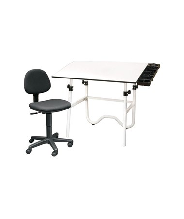 Alvin CC Series Creative Center White Top White Base Onyx Drafting Table, With Office Chair CC2001A3