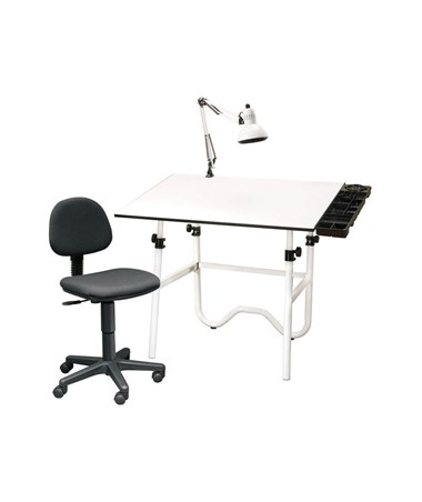 Alvin CC Series Creative Center White Top White Base Onyx Drafting Table, With Office Chair & Lamp CC2001A