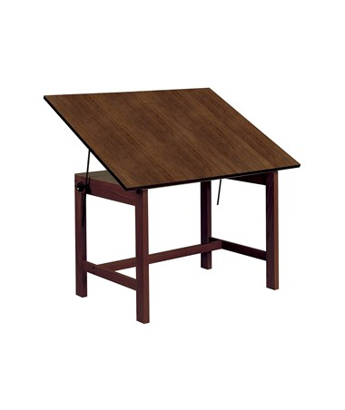 "Alvin 31"" x 42"" Titan Solid Oak Drafting Table, Walnut Finish WOB42-WA"