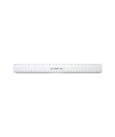 "Alvin 12"" 260 Series White Plastic Flat Engineer Scale with 1/10, 1/30, 1/40, & 1/50 inch Graduations 261P"