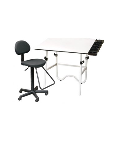 Alvin CC Series Creative Center White Base Onyx Drafting Table, With Drafting Chair CC2017E