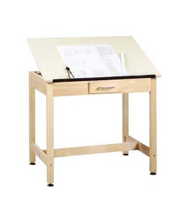 "Alvin 30""H Shain One-Piece Drawing Table, With Small Drawer DT-2A30"