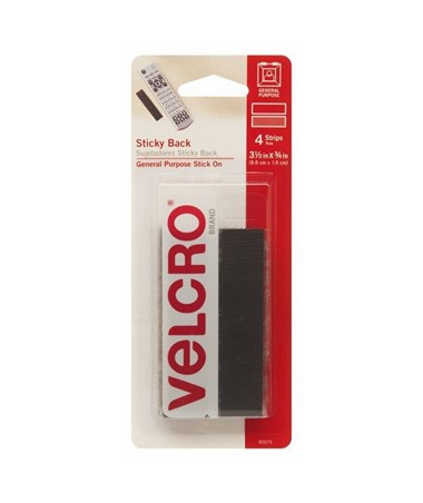 "Velcro Sticky Back Fastener Strips Black (3 ½""L x ¾""W), 4 Sets/Box V90075"