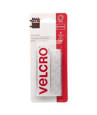 "Velcro Sticky Back Fastener Strips White (3 ½""L x ¾""W), 4 Sets/Box V90076"