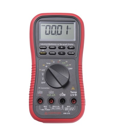 Amprobe AM-270 Industrial True-RMS Digital Multimeter with Data Recording and Relative Zero Mode AMP3524999