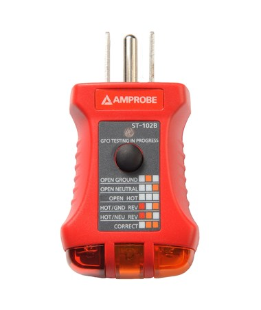 Amprobe ST-102B GFCI Receptacle Tester with Black Button AMP4160817