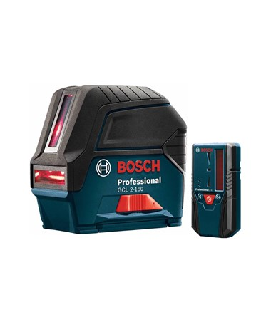 Bosch GCL 2-160 + LR 6 Self-leveling Cross-line Combination Laser with Plumb Points & LR 6 Receiver