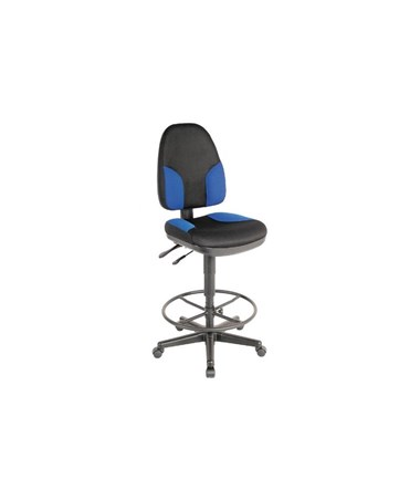 Alvin High Back Monarch Drafting Chair Black Fabric with Blue Highlights CH555-85DH