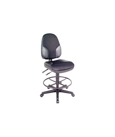 Alvin High Back Monarch Drafting Chair Black Fabric with Leather Accents CH555-95DH