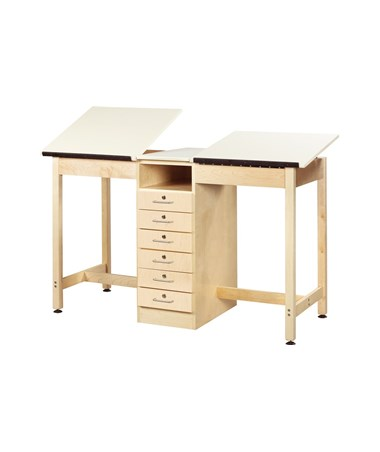 Diversified Woodcrafts 2-Station Drafting Table with Book Compartment DIVDTA-21A