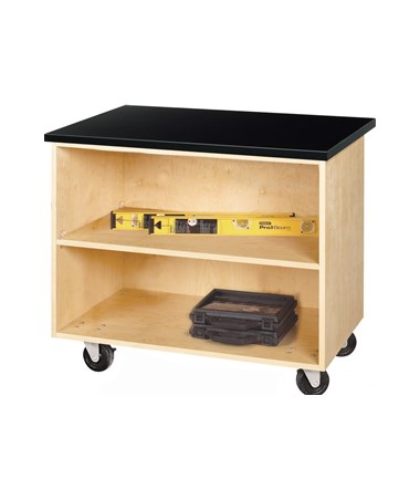 Diversified Woodcrafts Open Shelf Mobile Demo Cabinet DIVMDC-2436C-