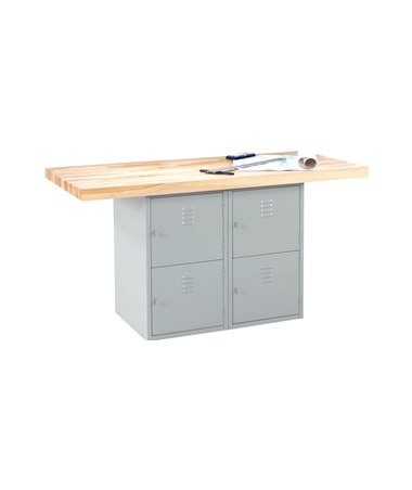 Diversified Woodcrafts 4-Locker Steel Cabinet Workbench DIVWBB4-0V-