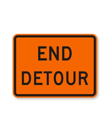 Eastern Metal Reflective Aluminum M4-8A End Detour Rigid Sign, EASAL-3024080-HIO-M4-8A